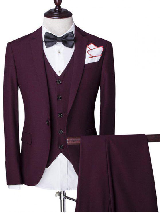 Revers Einreiher Solid Color Langarm dreiteiligen Anzug (Blazer + Weste + Hosen) für Männer - Weinrot 2XL