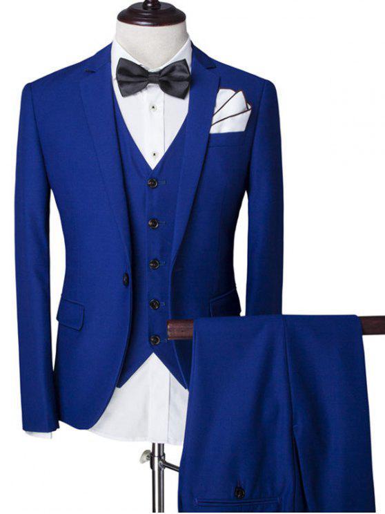 Revers Einreiher Solid Color Langarm dreiteiligen Anzug (Blazer + Weste + Hosen) für Männer - Blau 2XL