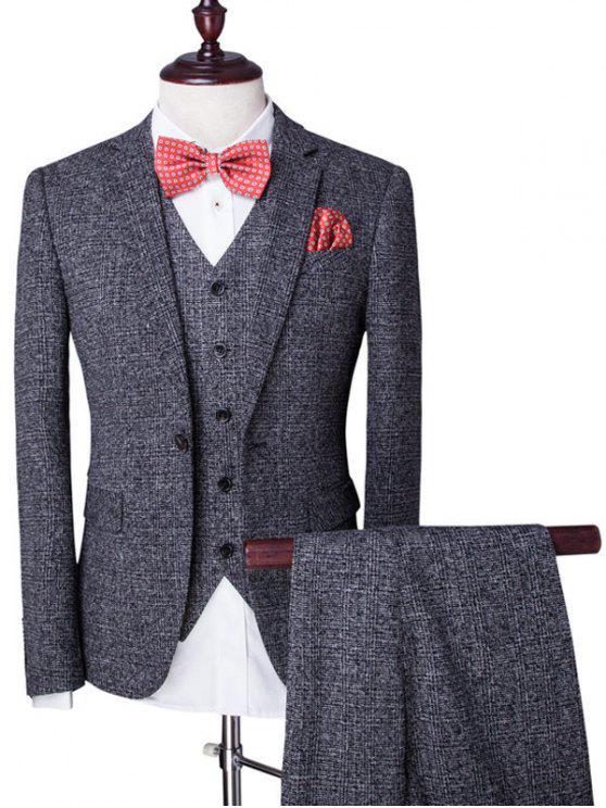 Revers Einreiher Swallow Gird Langarm dreiteiligen Anzug (Blazer + Weste + Hosen) für Männer - Grau L