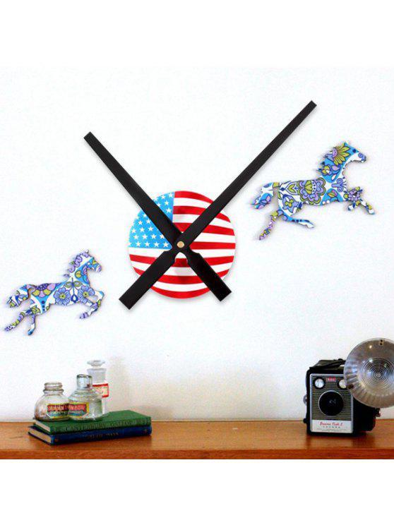دي 30 سنتيمتر مؤشر الرقمية أوسا العلم تصميم الجدار ملصق ساعة - أسود