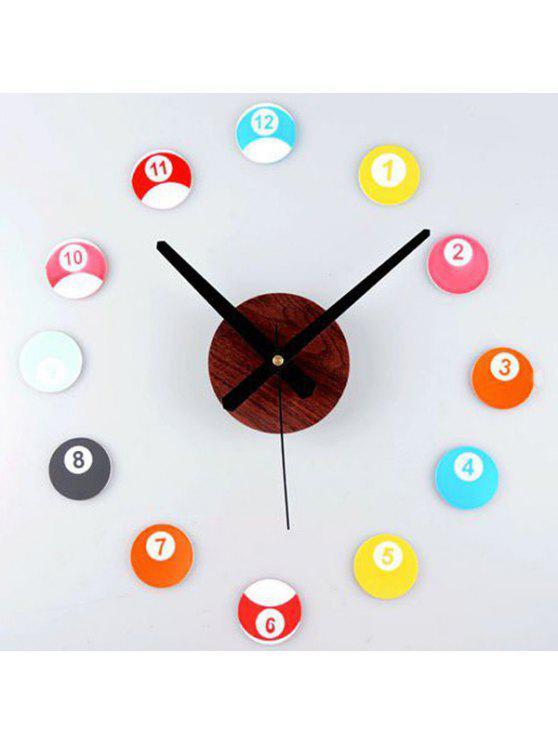 دي الملونة بي البلياردو الشكل الرقمية الجدار ملصق على مدار الساعة - ملون