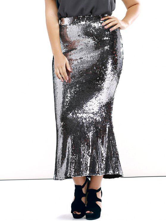 shops Plus Size Sequined Mermaid Skirt - SILVER 4XL