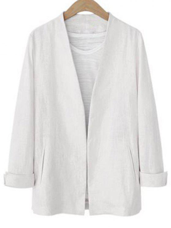fashion Solid Color Long Sleeve Stand Neck Jacket - WHITE S