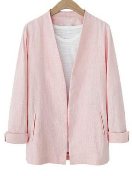 sale Solid Color Long Sleeve Stand Neck Jacket - PINK S