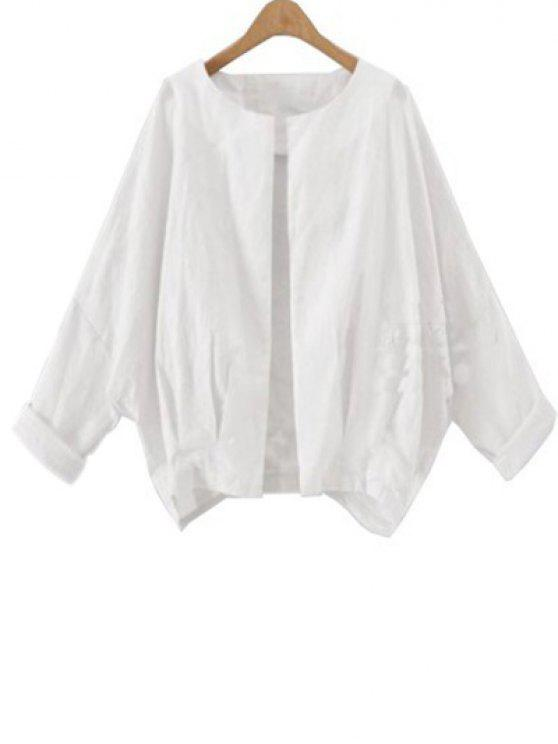 outfits Solid Color Batwing Sleeve Round Neck Jacket - WHITE L