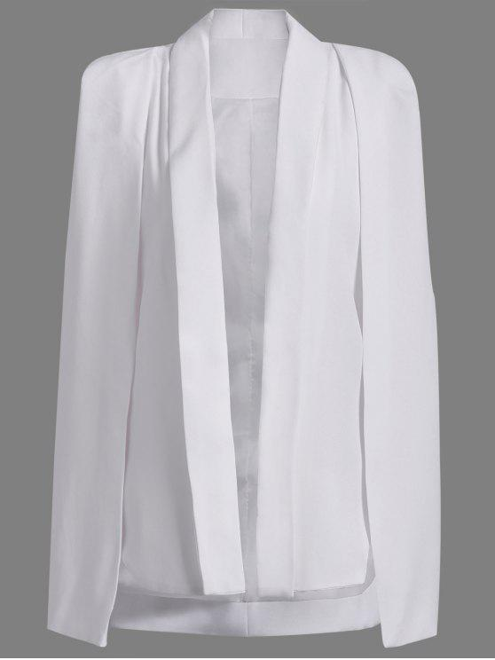 lady Shawl Neck Solid Color Cape Blazer - WHITE S