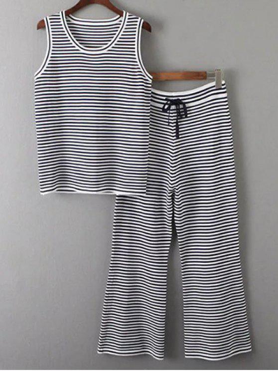 outfit Sleeveless T-Shirt and Striped Pants Twinset - WHITE AND BLACK ONE SIZE