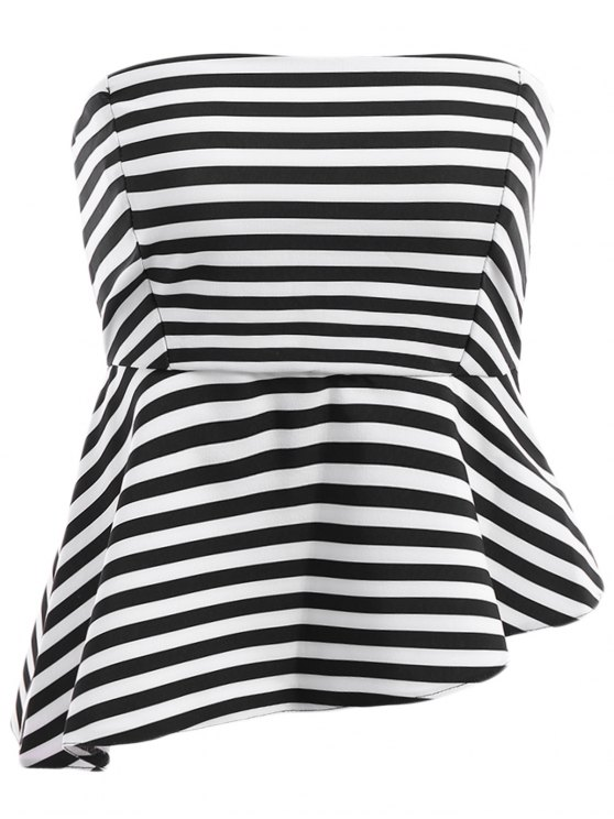 shops Spaghetti Strap Stripe Asymmetrical Tank Top - WHITE AND BLACK S