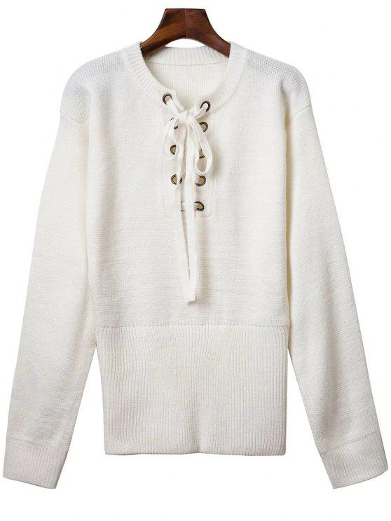Solide Rond Couleur Neck Lace Up Sweater - Blanc TAILLE MOYENNE