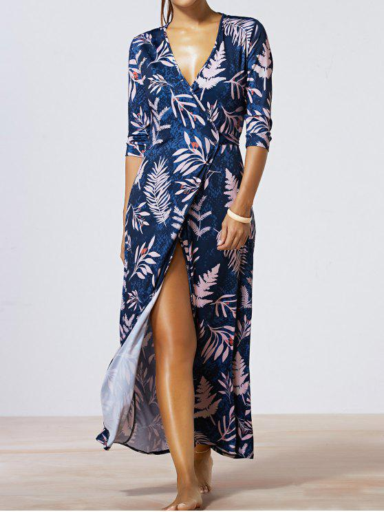 online Maple Leaf Print V-Neck Wrap Maxi Dress - DEEP BLUE M