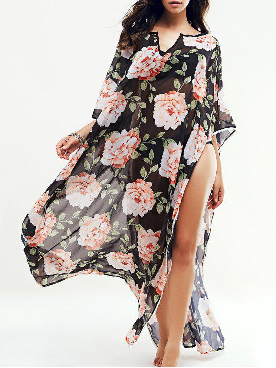 fashion Large Floral Kaftan Cover-Up - BLACK L