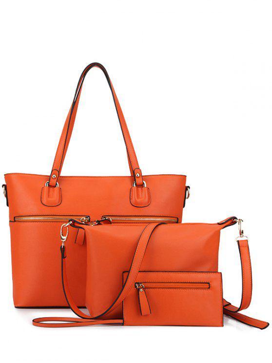 chic Zips Solid Color Shoulder Bag - ORANGE
