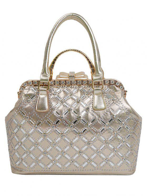 latest Rhinestone Metal Bow Tote Bag - GOLDEN