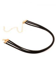Strand Layered Velvet Choker Necklace - Black
