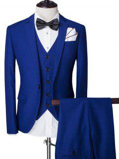 Lapel Single Breasted Solid Color Long Sleeve Three-Piece Suit ( Blazer + Waistcoat + Pants ) For Men - Blue Xl
