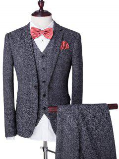 Lapel Single Breasted Swallow Gird Long Sleeve Three-Piece Suit ( Blazer + Waistcoat + Pants ) For Men - Gray M