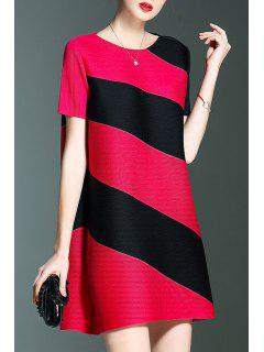 Short Stripe A Line Trapeze Dress - Rose Red