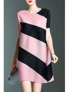 Short Stripe A Line Robe De Trapèze - Rose PÂle