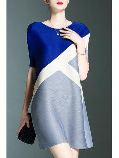 Robe Courte En Couleur - Bleu