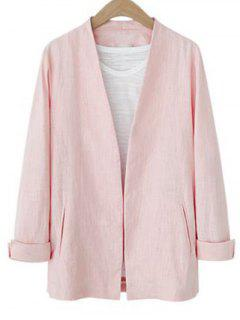 Solid Color Long Sleeve Stand Neck Jacket - Pink S