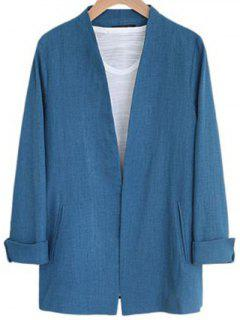 Solid Color Long Sleeve Stand Neck Jacket - Blue S