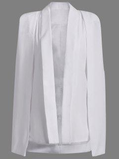 Shawl Neck Solid Color Cape Blazer - White L