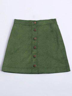 Abotonado Mini Falda De Pana - Verde S