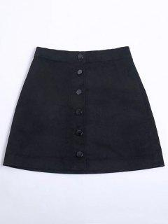 Button Up Mini Corduroy Skirt - Black S