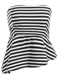 Spaghetti Strap Stripe Asymmetrical Tank Top - White And Black M