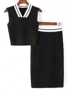 Sleeveless Thin Sweater And Striped Skirt Twinset - White And Black