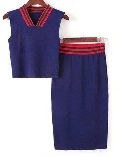 Sleeveless Thin Sweater And Striped Skirt Twinset - Blue And Red
