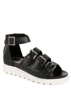 Buckles Platform Solid Colour Sandals - Black 38