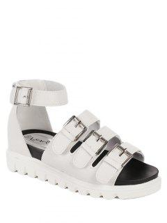 Buckles Platform Solid Colour Sandals - White 38