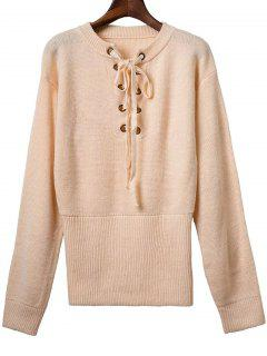 Solid Color Long Sleeve Round Neck Lace Up Sweater - Apricot