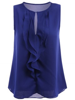 Solid Color Chiffon Sleeveless Shirt - Blue L
