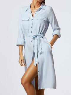 Solide Couleur Single-breasted Belted Denim Dress - Bleu Clair S
