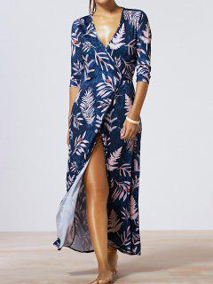 Maple Leaf Print V-Neck Wrap Maxi Dress - Deep Blue M