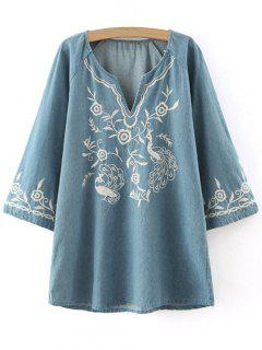 Embroidered Denim Tunic Dress - Blue S
