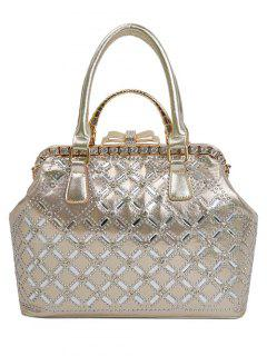 Rhinestone Metal Bow Tote Bag - Golden