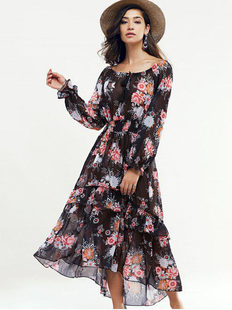 buy Long Sleeve Swingy Maxi Dress - BLACK S Mobile