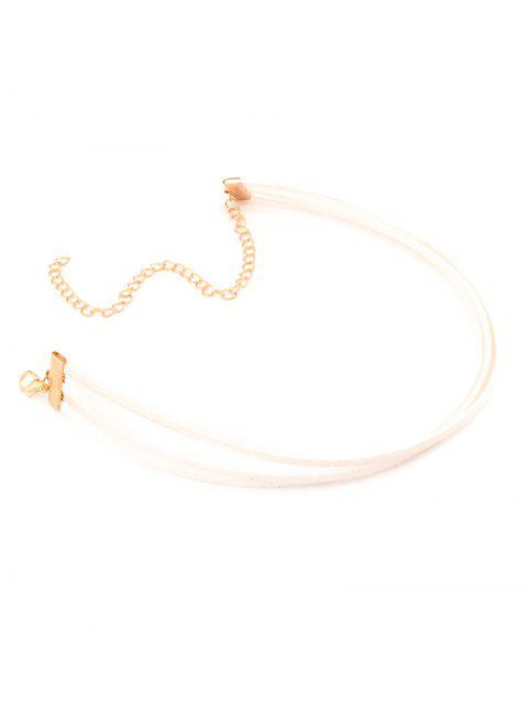 affordable Strand Layered Velvet Choker Necklace - WHITE  Mobile