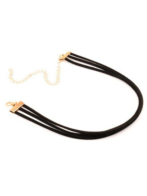 unique Strand Layered Velvet Choker Necklace -   Mobile