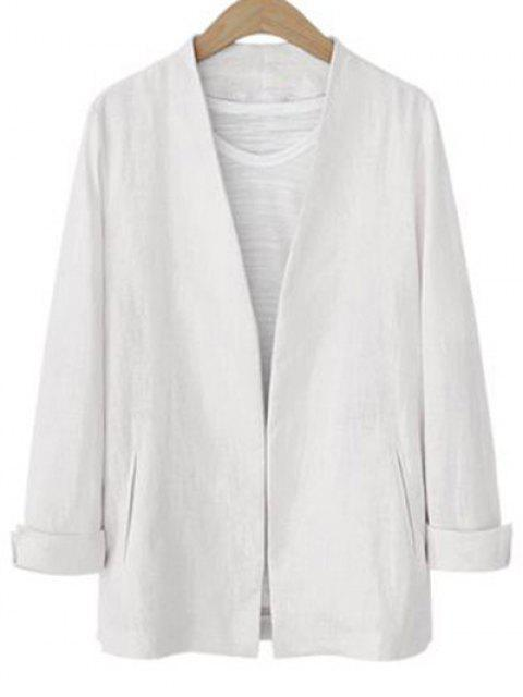 latest Solid Color Long Sleeve Stand Neck Jacket - WHITE L Mobile