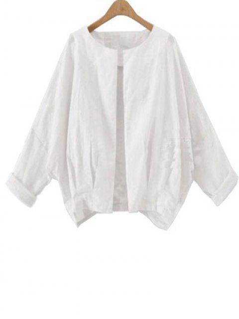 Solid Color Batwing Ärmel Rundhalsausschnitt-Jacke - Weiß XL  Mobile