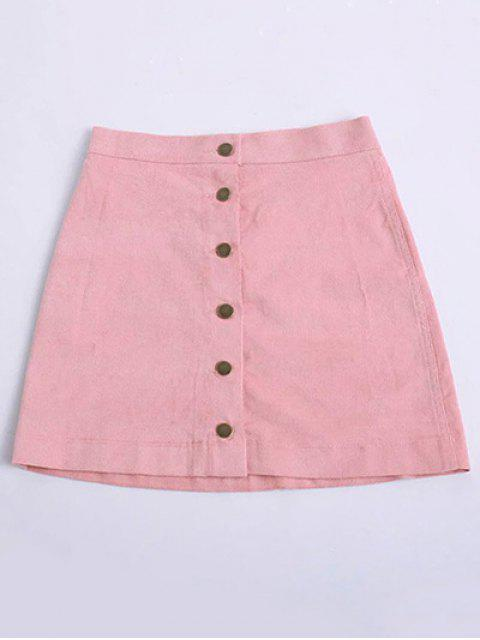 outfits Button Up Mini Corduroy Skirt - PINK M Mobile