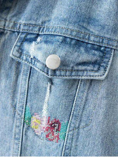 new Metallic Button Embroidered Denim Jacket - LIGHT BLUE M Mobile