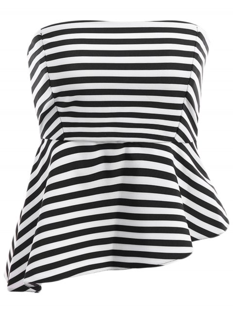 trendy Spaghetti Strap Stripe Asymmetrical Tank Top - WHITE AND BLACK M Mobile