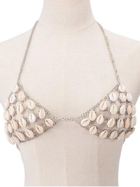womens Shells Bra Body Chain - SILVER  Mobile