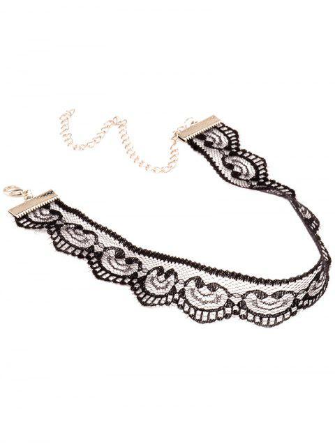trendy Adjustable Lace Choker Necklace - BLACK  Mobile