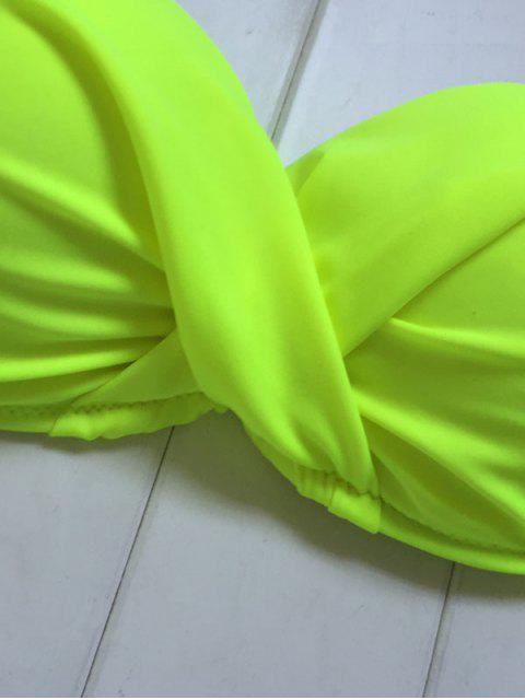 unique Neon Color Twisted Bikini Set - FLUORESCENT YELLOW L Mobile